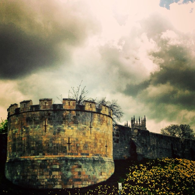 """""""York, The Walls and Minster"""" stock image"""
