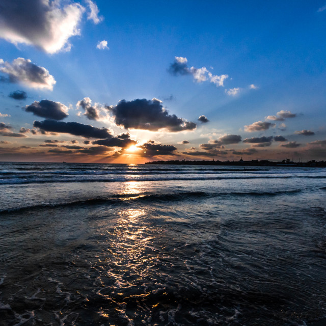 """Sunset in Akko"" stock image"