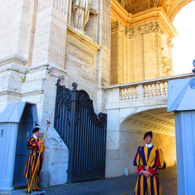 """Swiss guard at Vatican city"" stock image"