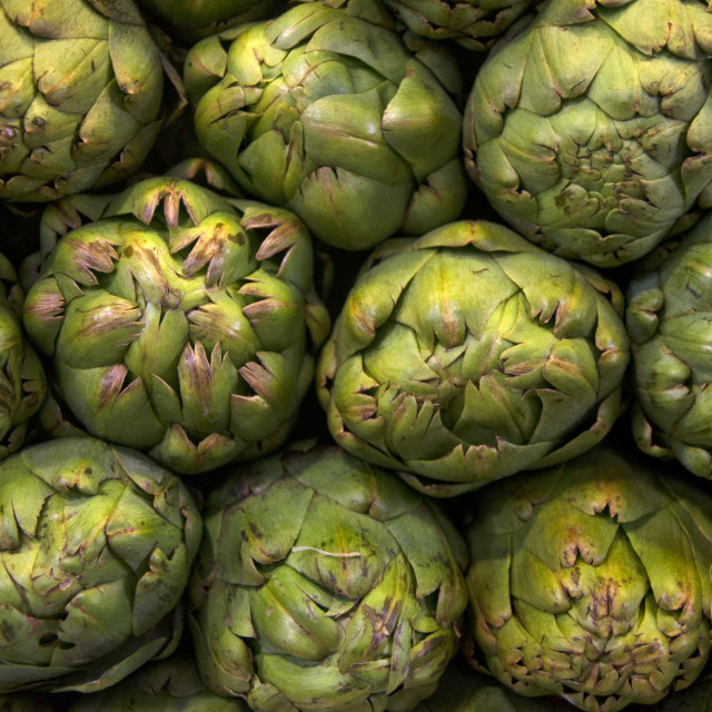 """Artichokes stacked"" stock image"