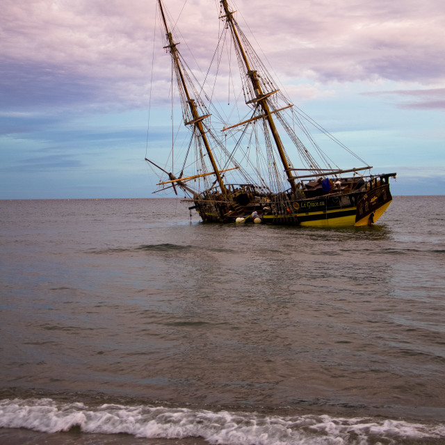 """Old Pirate galleon stranded"" stock image"