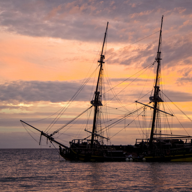 """""""Old Pirate galleon stranded"""" stock image"""