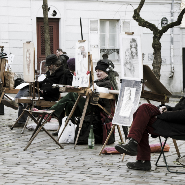 """Painters at Place du Tertre"" stock image"