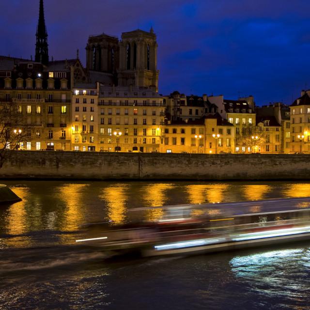 """""""Ile de la cite with Notre Dame by night, Paris, France."""" stock image"""