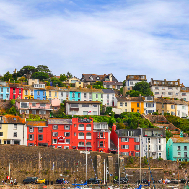 """""""Colorful houses in Brixham, England"""" stock image"""