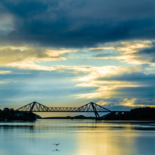 """Connel Bridge Sunset Silhouette"" stock image"