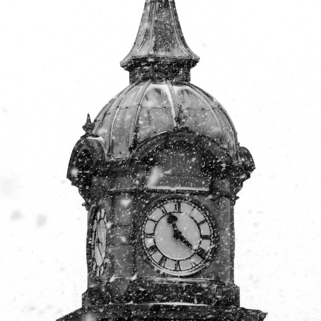"""Picton Clock through the snow"" stock image"