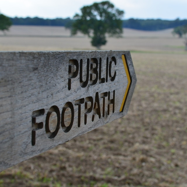 """Public footpath direction sign."" stock image"