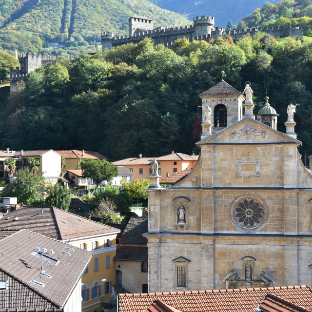 """Old church in Bellinzona, Switzerland"" stock image"