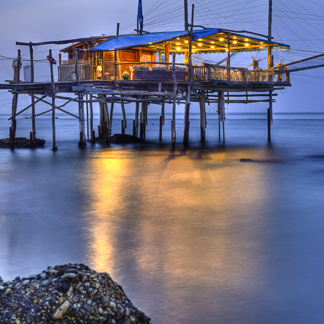 """Trabocco (Old fishing house) Punta Rocciosa Fossacesia Chieti Italy sunset"" stock image"