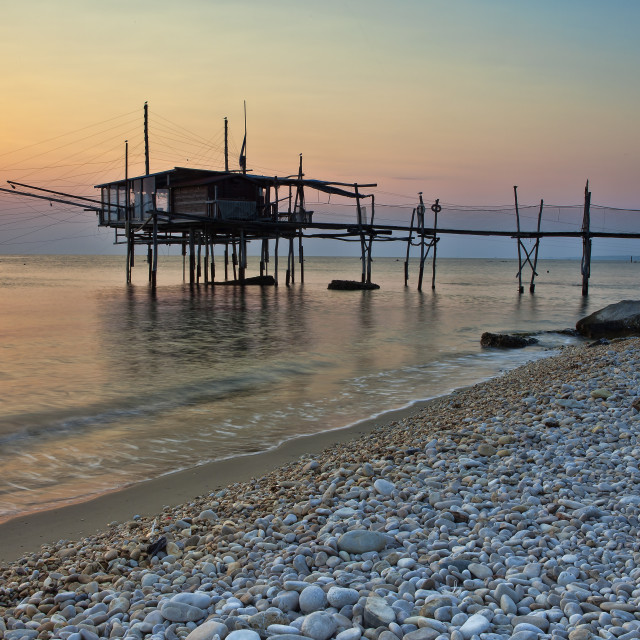 """Trabocco (Old fishing house) Punta Rocciosa Fossacesia Chieti Italy"" stock image"