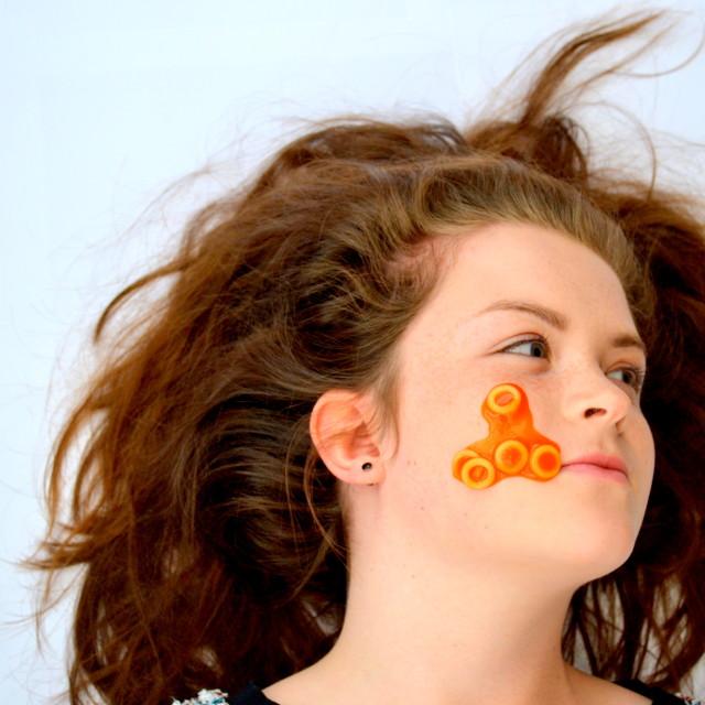 """Spaghetti Hoops on face landscape"" stock image"