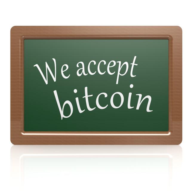 """We accept bitcoin black board"" stock image"