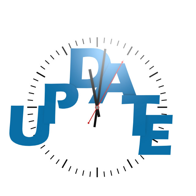 """Update word with clock"" stock image"