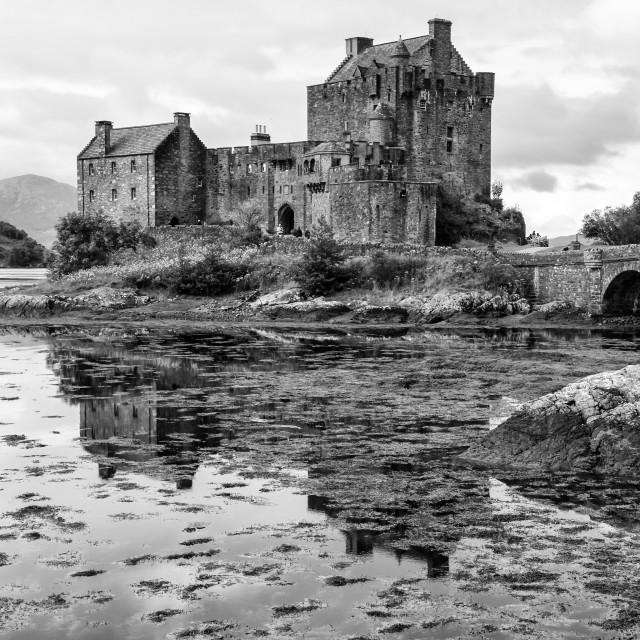 """Eilean Donan Castle 2nd September 2015 monochrome"" stock image"