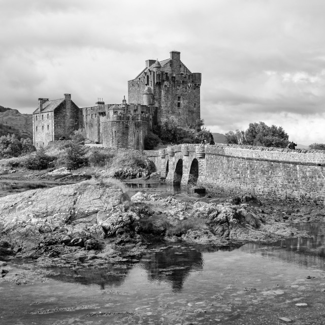 """Eilean Donan Castle 2nd September 2015 monochrome"" stock image"