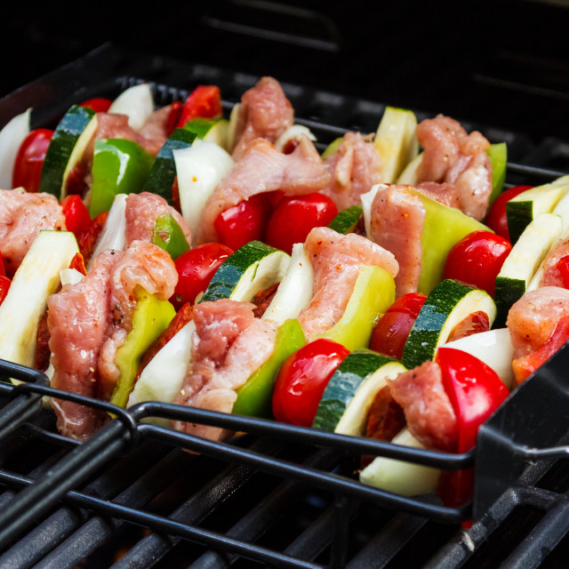 """Skewer on grill"" stock image"