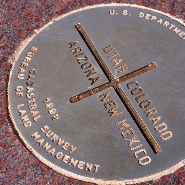 """""""Metal plate of Four Corners in USA"""" stock image"""