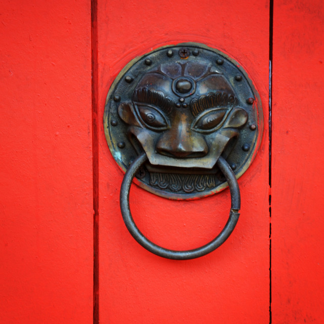"""Door in a traditional chinese temple."" stock image"