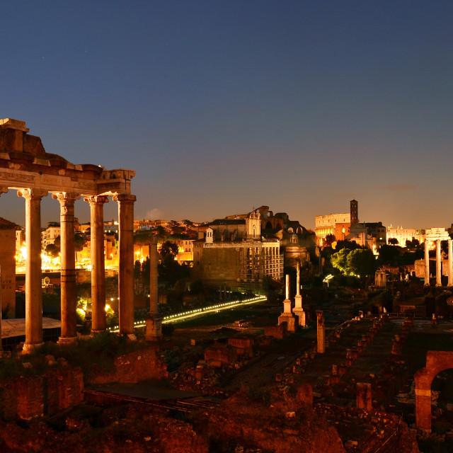 """""""Panorama of Roman Forum, Rome"""" stock image"""
