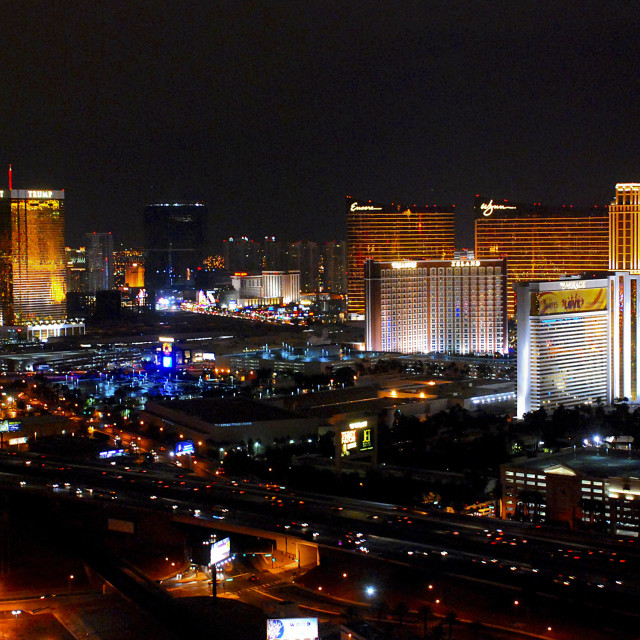 """Skyline at night of Las Vegas, USA."" stock image"