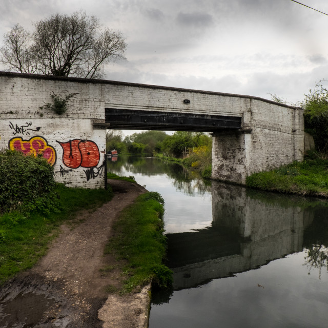 """Grand Union Canal Bridge"" stock image"