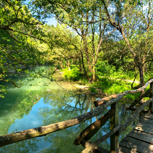 """""""Wooden bridge over the river"""" stock image"""