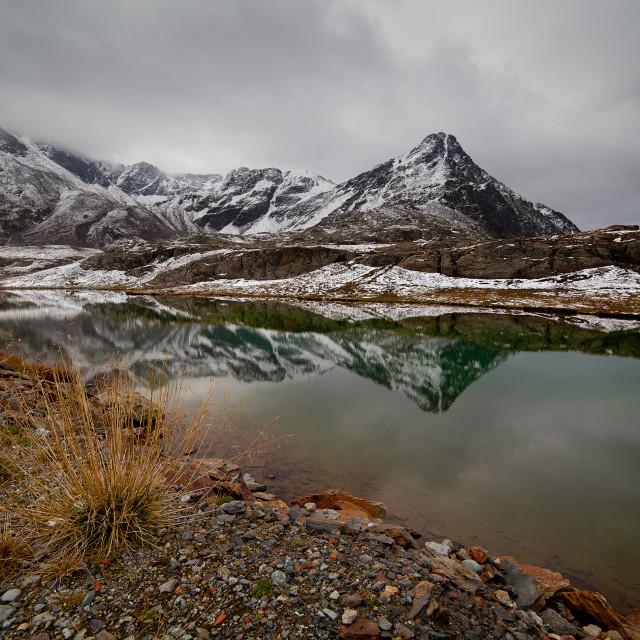 """First snow at White Lake"" stock image"