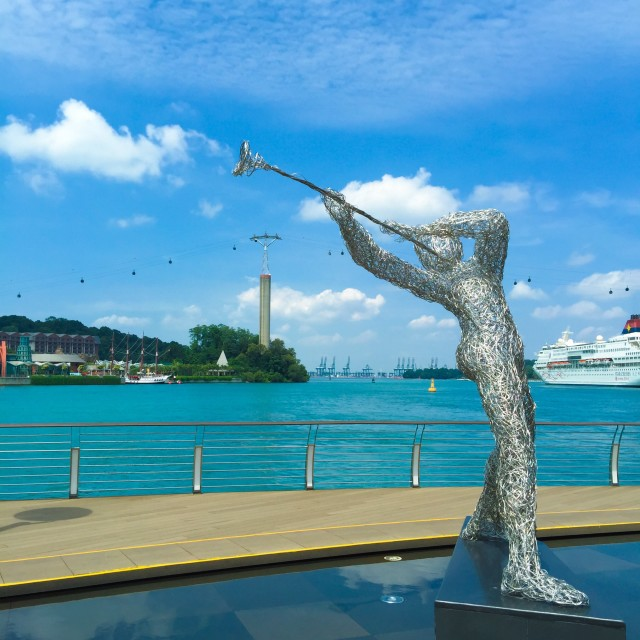 """""""Stainless musician at the waterfront"""" stock image"""