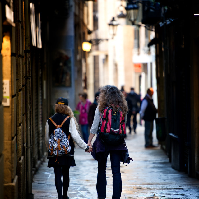 """Side street Barcelona Spain"" stock image"