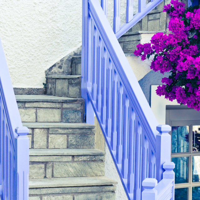 """Blue stair rail"" stock image"