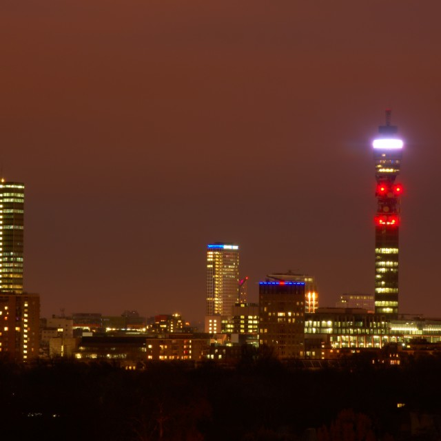 """Telecom Tower at Night"" stock image"