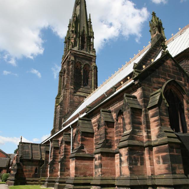 """The Pugin designed St Giles Catholic church, Cheadle Staffordshire. Photo by John Keates"" stock image"