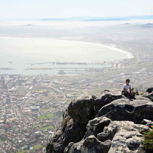 """on top of Table Mountain"" stock image"