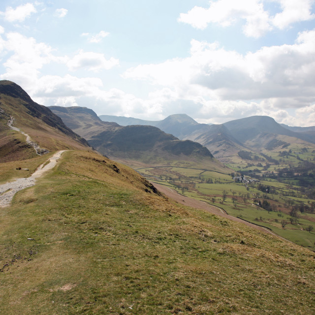 """Looking up to Catbells English Lake District"" stock image"