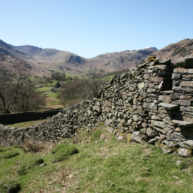 """Great Langdale Fells near to Elterwater in the Lake District"" stock image"