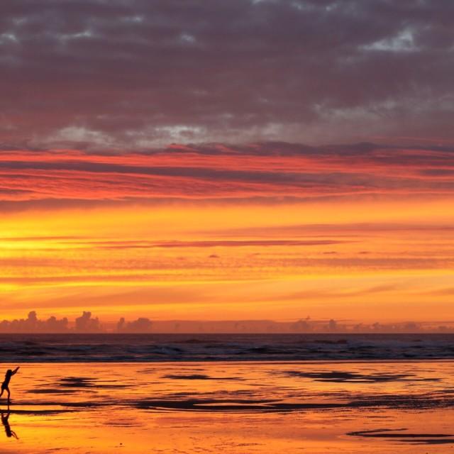 """August sunset, Mawgan Porth"" stock image"