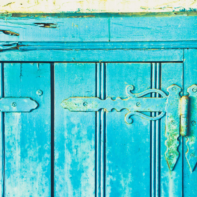 """Blue shutter hinges"" stock image"