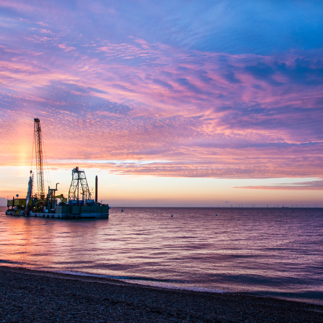 """Cable Laying Ship at sunset"" stock image"