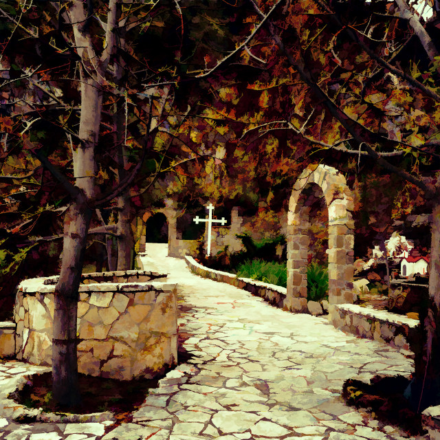 """Rural Greek Church Entrance - Painting effect"" stock image"