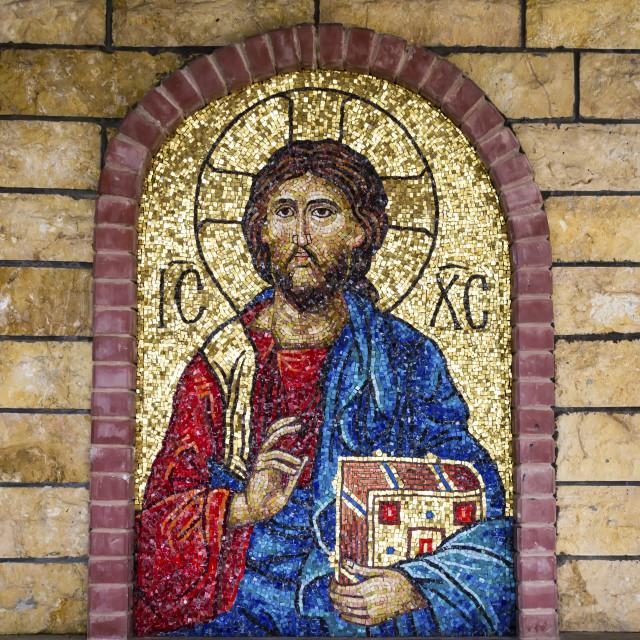 """Jesus Christ Mosaic in Greek Orthodox Church"" stock image"