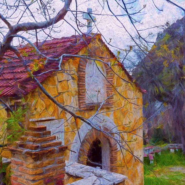 """Rural Greek Church - Painting effect"" stock image"