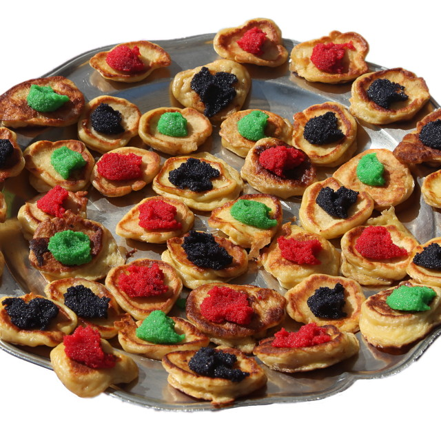 """""""Colorful blini on a platter"""" stock image"""