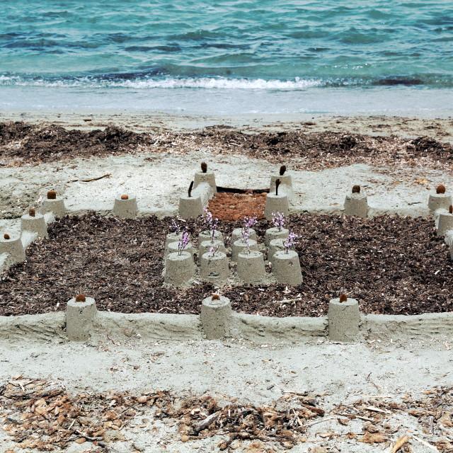 """Ambitious sand castle"" stock image"