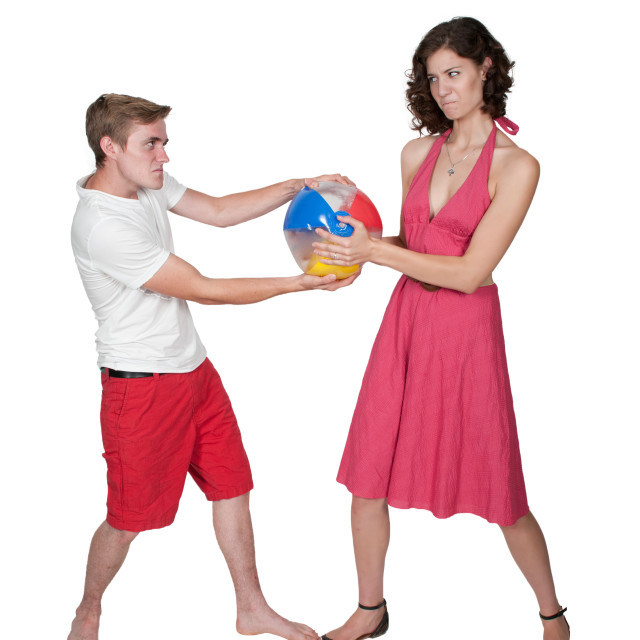 """""""Couple with Beach Ball"""" stock image"""