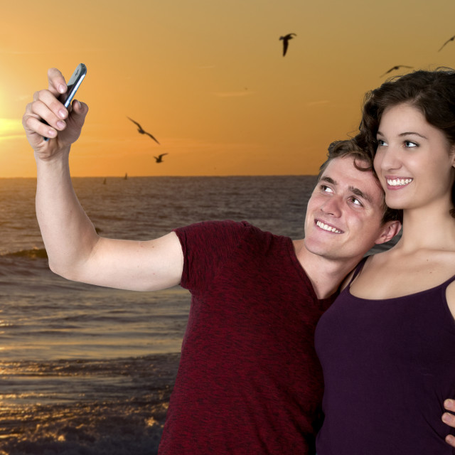 """""""Couple taking a selfie"""" stock image"""