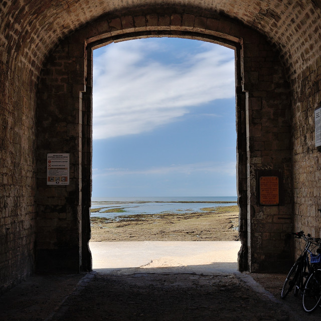 """Archway to the beach, Île de Ré, France"" stock image"