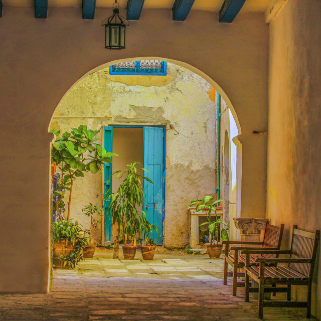 """Inner courtyard in caribbean house"" stock image"
