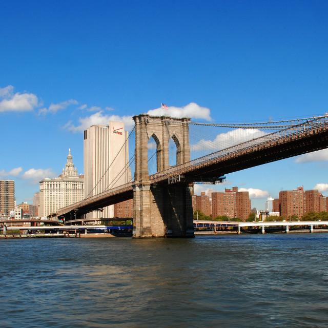 """Brooklyn Bridge to Manhattan"" stock image"