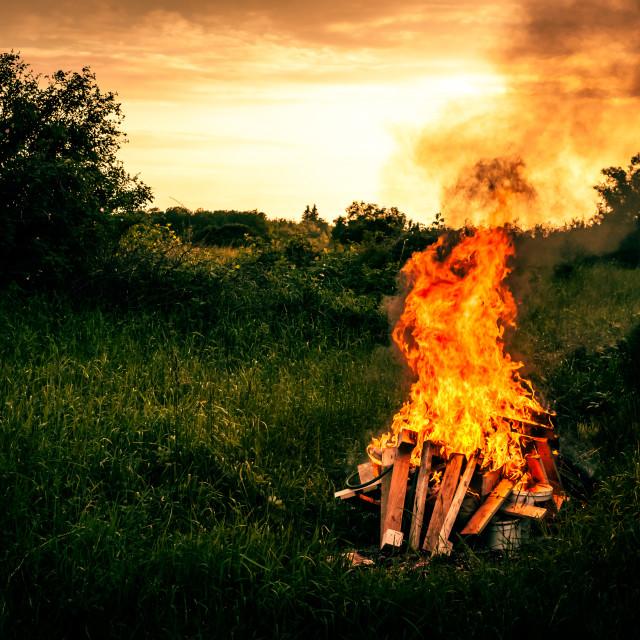 """Bonfire scenery"" stock image"